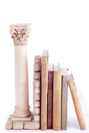 Roman column bookend and old books
