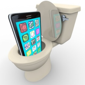 mobile phone in toilet