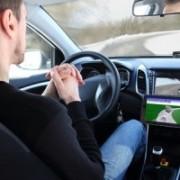 Man in self-driving car