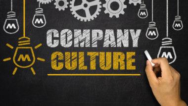 company culture written on blackboard