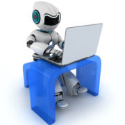 39083675 - robot working on laptop (done in 3d)