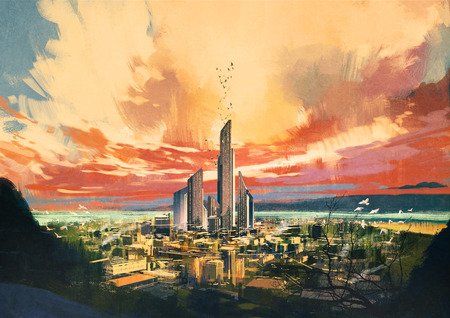 digital painting of futuristic sci-fi city with skyscraper at sunset ,illustration